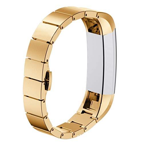 Bellkey für Fitbit Alta HR Armband und Alta Armband, Einstellbar Köper Ersatz Band Armbänder für Fitbit Alta hr and Alta Band mit (Gold)