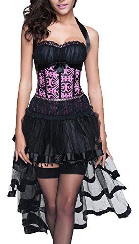 r-dessous sexy Corsagenkleid Corsage + Rock Mini Kleid schwarz Cocktailkleid Partykleid Abendkleid Gothic kurz Groesse: S (Bustier Kleid Mini)