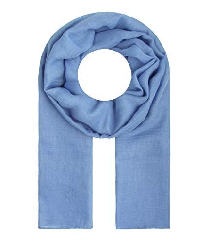 Majea Tuch Lima schmal geschnittenes Damen-Halstuch leicht uni einfarbig dünn unifarben Schal weich Sommerschal Übergangsschal (denim) - Denim Schal