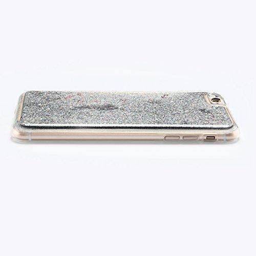 Coque iPhone 6 , E-Lush Apple iPhone 6 / 6S Liquide Sables Mouvants Etui Rose Quicksand Motif Coque cover Etui Cover Case Bling Bling Glitter Étoile Paillettes Etui Housse Souple Silicone TPU + Dur PC Argent