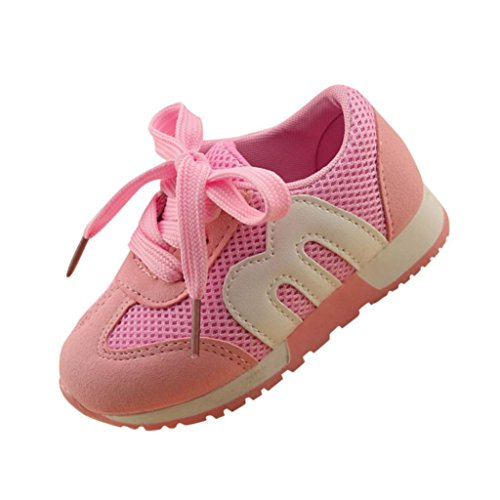 Unisex Mesh Hohl Sneaker Kleinkind Kinder, DoraMe Baby Jungen Mädchen Atmungsaktive Turnschuhe Flache Loafers Sport Schuhe Läuft Weich Boden Schuhe für 1-6 Jahr (2-2.5 Jahr/Size(CN):23, Rosa) (Diagramm Mesh-größe)