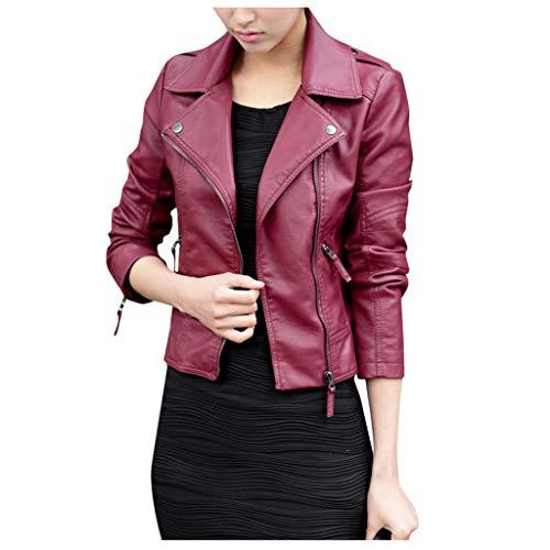 TYTUOO Trendy Punk Jacke Für Frauen Leder Reißverschluss Jacke Slim Biker Motorrad Mantel Punk Outwear -