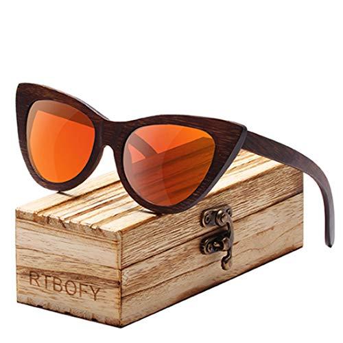 DAIYSNAFDN Holz Sonnenbrille Frauen Bambus Rahmen Brillen Polarisierte Gläser Brille Vintage Design C4