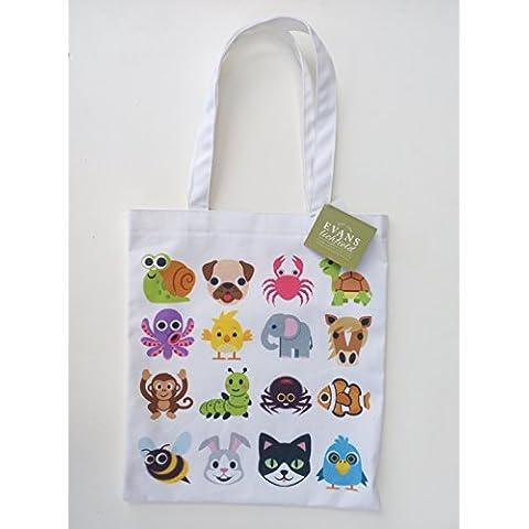 Sacca porta attrezzi In tela con smile su entrambi i lati, Emoji, disponibile In 3 modelli diversi ANIMALS & INSECTS