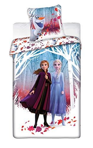 Aymax S.P.R.L. Parure de lit Frozen 2 Leaves - Housse de Couette Reine des Neiges 140x200 cm + Taie d'oreiller 63x63 cm Disney