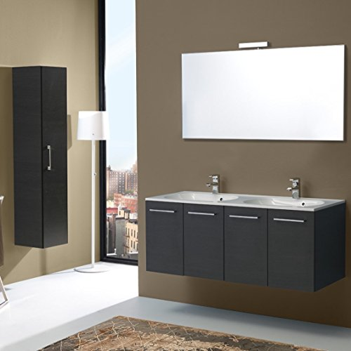 Mobile bagno da 120 cm quattro ante con doppio lavabo boston in tanner