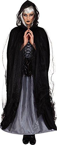 Umhang in schwarz mit Tüll zu Halloween Vampirin Hexe ()