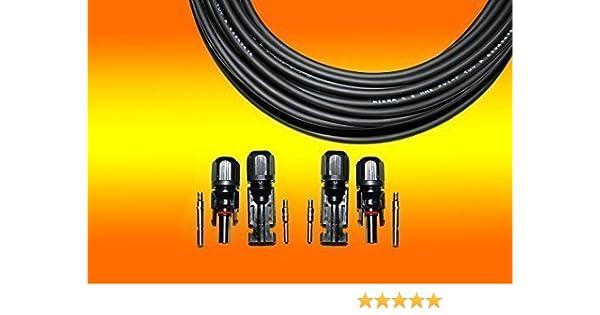 1 x 20m Solarkabel schwarz 4mm/² 2 Paar MC 4 Stecker f/ür Photovoltaik Montage