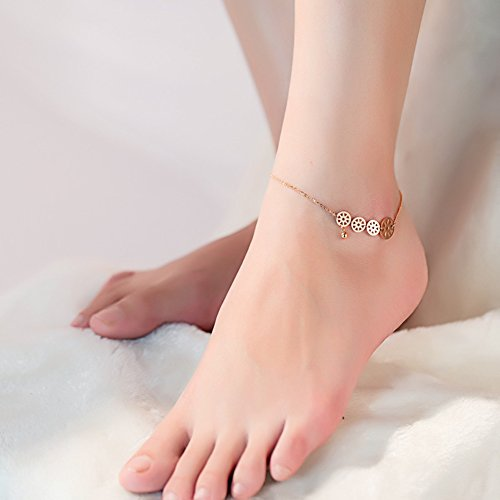 OMZBM Überzogener 18K Rose Gold Fußkettchen-Schmucksachen Für Frauen Und Mädchen-Art- Und Weisemünzen-Bell-Titanstahl-Justierbare Kettenfuß-Bügel-Armband-Schmucksachen