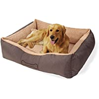"""[Gesponsert]brunolie """"Lucky"""" großer Hundekorb waschbar, hygienisch und rutschfest, Hundebett mit Kissen und kuscheligem Plüsch in Braun, Größe L"""