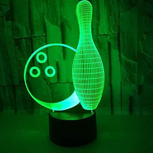 3D Illusion Nachtlampe LED Optical Bowling 7 Modelle Touch Control Nachtlicht Art Deco Machen Sie ein romantisches Ambiente für Kinder Kinder Nachtlampe für Schlafzimmer Nachttisch Bowling-art-deco