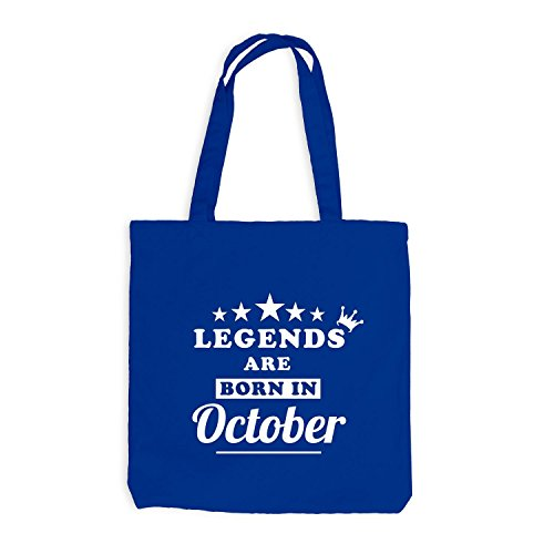 Jutebeutel - Legends are born in October - Birthday Gift Royalblau