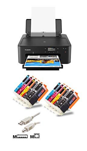 Canon PIXMA TS705 Tintenstrahldrucker Bundle mit kompatiblen Patronen+ USB-Kabel (A4, Drucker, USB, Duplex, LAN, WLAN, CD/DVD-Druck, Bluetooth, Mobil-Druck) (mit 10 komp. Tinten)