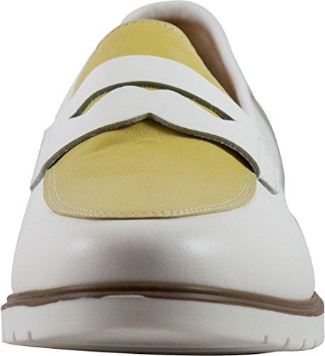 Cristhàlia 25 1015, Mocassini in Pelle, Made in Italy vitello bianco, giallo