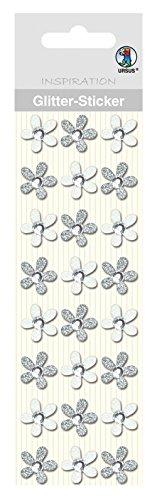 Ursus 75000001 - Glitter Sticker Blüten, 24 Stück, silber -
