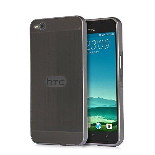 Telefon Kasten für HTC One X9 Hülle Aluminium Metall Case Cover+PC Gebürstet Back- Schwarz