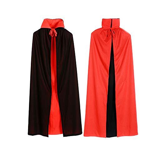 Mallalah Herren Robe Umhang Ritter Fancy Cosplay Kostüm Vampir Umhang Vampire Wendeumhang schwarz rot Cape für Erwachsene Halloween Kostüm
