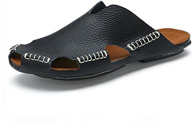 LXMEI Sandalias deportivas de verano para hombre, piel, puntera cerrada, sandalias de senderismo al aire libre