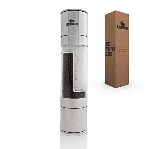 1 Kombi-set (Salz und Pfeffermühle Set 2-in-1 aus Edelstahl - Design Kombi Salz und Pfeffer Mühle mit hochwertigem Keramikmahlwerk)