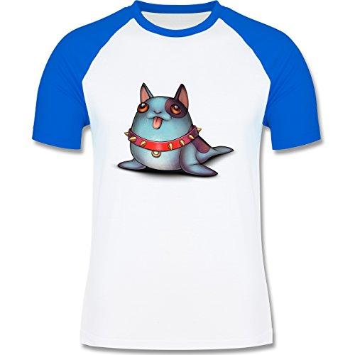 Sonstige Tiere - Seehund - zweifarbiges Baseballshirt für Männer Weiß/Royalblau