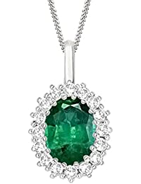 "Silvernshine 2.30 Ct Oval Emerald & D/VVS1 Diamond Halo Pendant With 18"" ChaIn In 14K White Gold Fn"