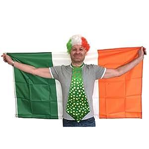 Irish Gelockt Clown Perücke, Jumbo Shamrock Krawatte und 5'x3' (FT)–St. Patrick 's Day Irische Flagge Irland Supporter Fans Fancy Kleid Zubehör