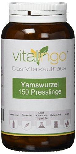 Yamswurzel Presslinge vitalingo 150 Stück Yamswurzel Presslinge mit 437mg Yamswurzel Pulver (radix discorea villosa) und 50 mg Vitamin C -