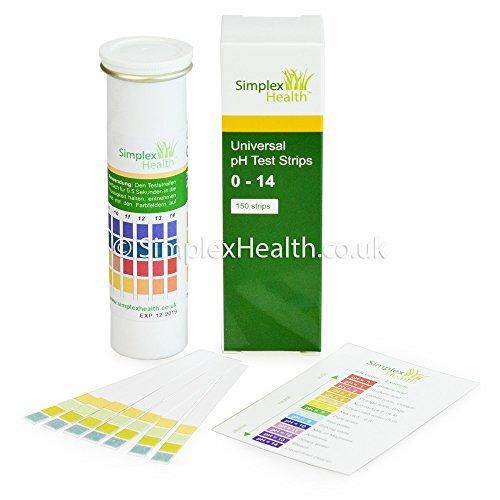SimplexHealth Wasser pH-Teststreifen 0–14 Wide Range & Vier Pad Universal für Säure Alkaline Testen (150 Streifen) – Besser als Lackmus-Papier (Wasser-säure-test)