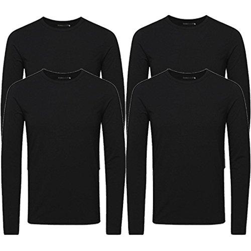 Jack & Jones Herren Langarmshirt 4er Pack Rundhals Basic LS Shirt Longsleeve Tee Core O-Neck S M L XL XXL # 4er Pack Schwarz