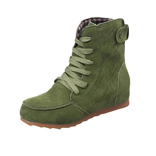 Women Leather Motorcycle Boots, SOMESUN Le donne piatto Caviglia neve Moto Stivali Donna Suede Lace-Up Leather Boot Green