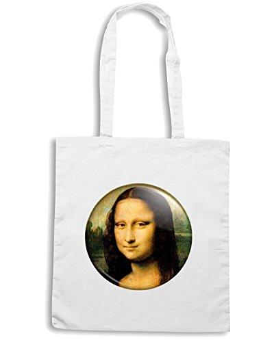 T-Shirtshock - Borsa Shopping TR0099 Mona Lisa 25mm Gioconda Classic Art Painting Da Vinci Bianco