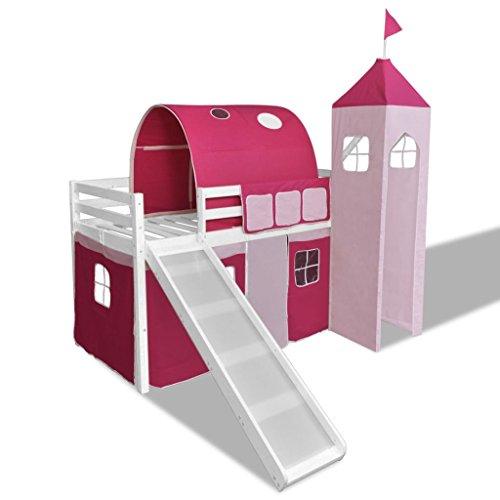 vidaXL Cama Alta Infantil Castillo Princesa con Tobogán y Escalera Madera Rosa