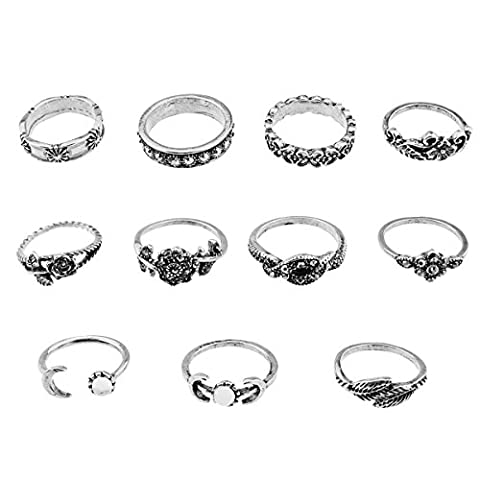 11Pcs Moon Flower Crystal Above Knuckle Ring Set (Silver)
