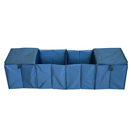 Kofferraum Organizer, Auto Reise Faltbarer Container Wasserdichte Reise Aufbewahrungsbox Bin 4 Fächer Stoff Ablagekorb Kühler & Wärmer Set(Blau-Stil 7) -