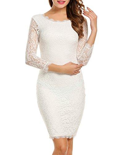 ACEVOG Damen Schulterfreies Spitzenkleid mit Knielang Langarm sexy  Cocktailkleid Weiß mit 3/4 Arm
