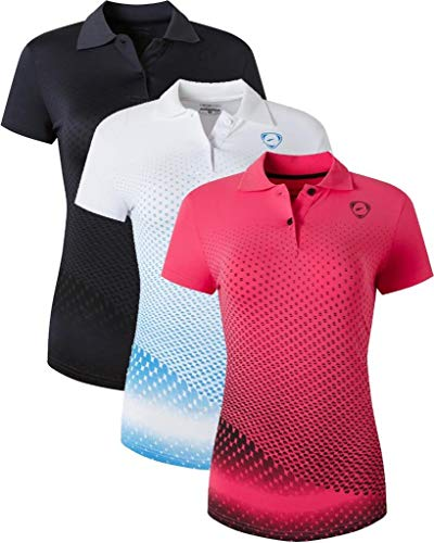 jeansian 3 Packs Damen Sport Poloshirt Polo Tee Shirt Tshirt T-Shirt Kurzarm Golf Tennis Badminton Dry Fit SWT251 PackD S
