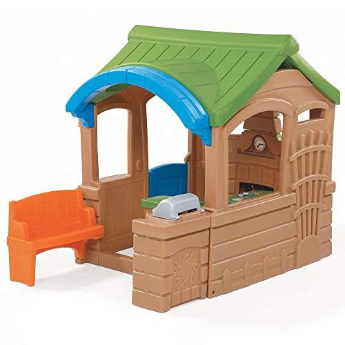 Beauty.Scouts Kinderspielhaus Lui aus Kunststoff 182,9x130,8x149,9cm braun Spielhaus Gartenhaus Kinder Spiel Haus Outdoor Klingel Postfach Küche