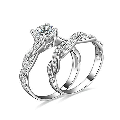 (Custom Ringe)Adisaer Ring 925 Sterling Silber Damen Zwei-Ringe Set Twist Linie Kristall Verlobungsring Größe 50 (15.9) Kostenlos (En 50 Kostüm Cent)