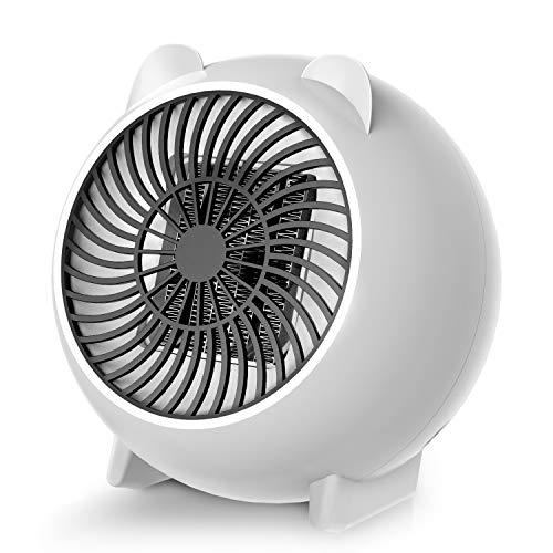 Karvipark Heizlüfter, Mini Heizlüfter Keramik Energiesparend Elektroheizer 250W, 2s Schnellheitzer Abschaltautomatik Überhitzungschutz für Babyzimmer Hause Büro