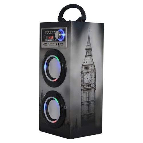 Majestic TS 79 BT USB SD AX - Altoparlanti a torre portatili Bluetooth, Ingressi USB/SD/AUX-IN, radio FM, batteria ricaricabile, luci intermittenti, Torre di Londra e Bus double decker