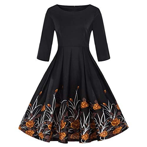 Luckycat Damen Plus Größe 3/4 Ärmel Vintage Kleid Floral Print Retro Swing Dress Abendkleider...