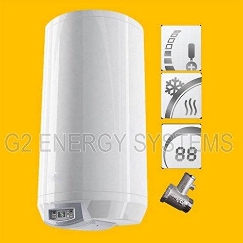 100 L Liter wandhängender Warmwasserspeicher mit digitaler Regelung; druckfest 230 Volt/50 Hz inkl. Sicherheitsventil und Wandhalterung