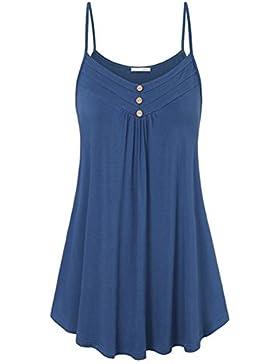 Hibote Mujer Camisas Sling Jumpers Mini Vestidos Blusas largas Camiseta Sólida de color Suelto Fit Tops Vestido...