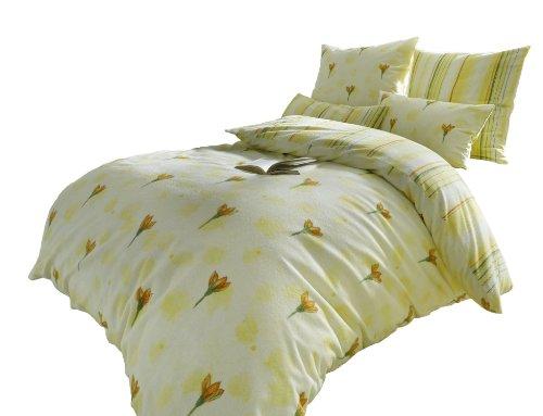 Dyckhoff 3025070800 Weichfrottier-Bettwäsche Tulipe 80 x 80 cm und 135 x 200 cm, gelb (Euro Bettbezug)