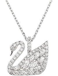 Swarovski Damen-Kette mit Anhänger Halskette rhodiniert Kristall weiß 36 cm - 5296469
