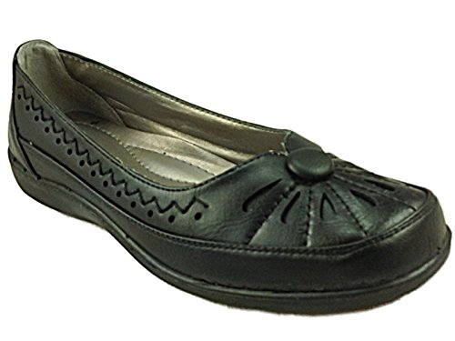 Ladies Donna Cushion Walk Black Faux Leather Flat Loafer Slip On Ballet...