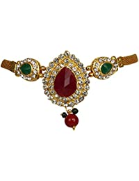 Adoreva Gold Plated Red Green Kundan White Diamond Latest Fashion Bajuband Armlet For Women