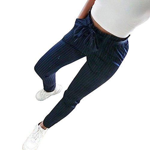 Wolle Nadelstreifen Passend (Ansenesna Hosen Damen High Waist Skinny Schwarz Weiss Gestreift Lang Elegant Freizeithosen Mit Gürtel Mädchen Slim Fit (Dunkelblau, S))