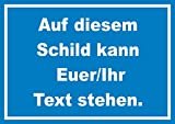 Schild mit Wunschtext waagerecht Text Weiss Hintergrund blau A4 (210x297mm)