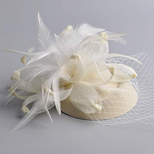 Fascinator Hat Feather Mesh Net Veil Party Hat Ascot Hats Clip und Hairband Flower Derby Hat mit für Frauen,White